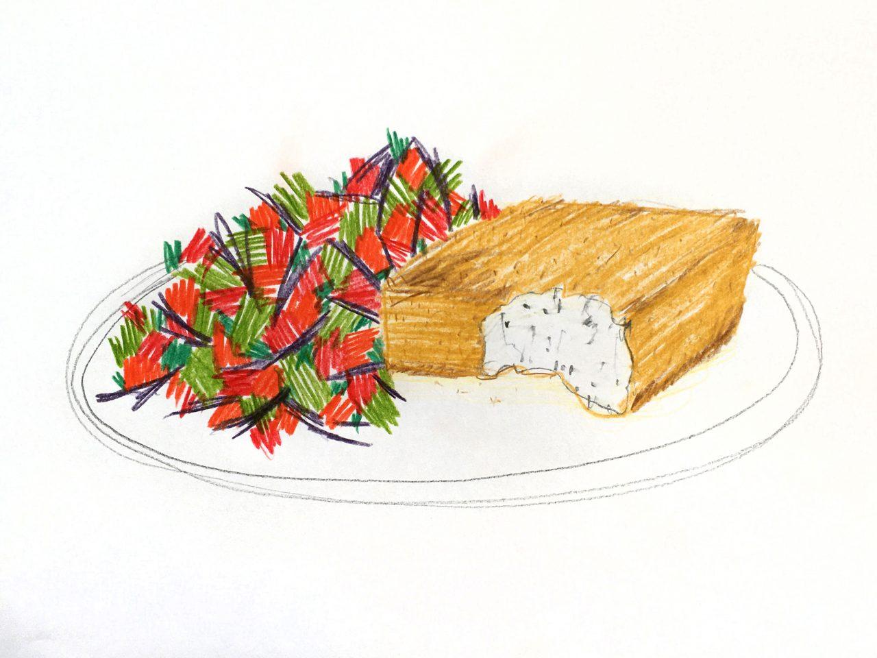 Panierter Schafskäse mit Schopska Salat
