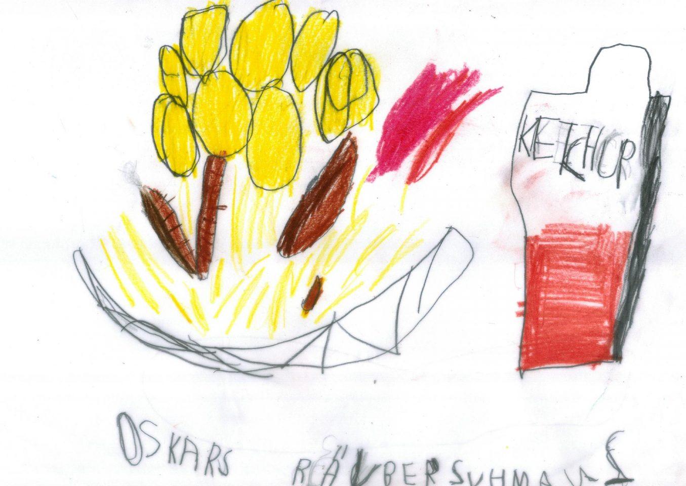 Oskars Räuberschmaus - Bratwürste mit Kartoffeln, Sauerkraut und Ketchup