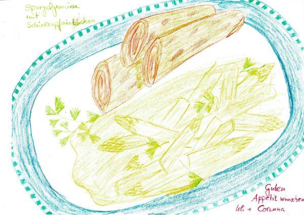 Spargelgemüse mit Schinkenpfannkuchen